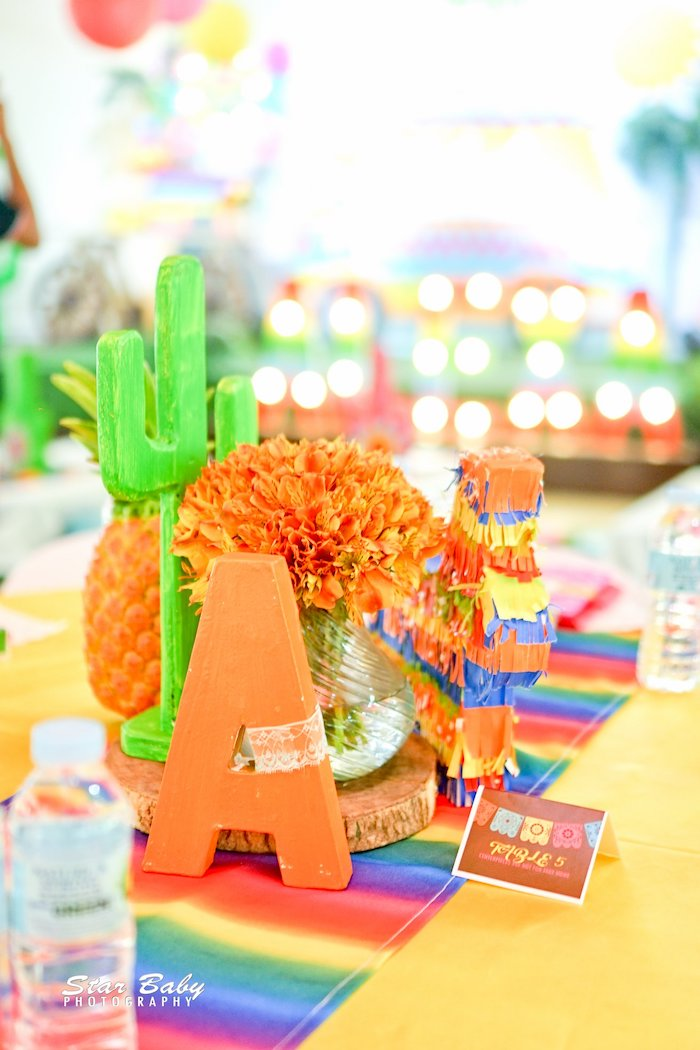 Fiesta-inspired Table Centerpiece from a Mexican Fiesta Birthday Party on Kara's Party Ideas | KarasPartyIdeas.com (28)