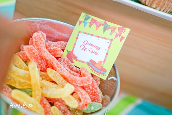 Gummy Worms from a Mexican Fiesta Birthday Party on Kara's Party Ideas | KarasPartyIdeas.com (24)