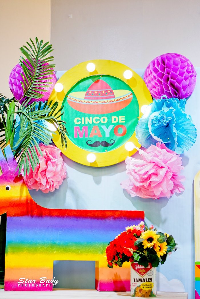 Marquee + Tissue Decoration Backdrop from a Mexican Fiesta Birthday Party on Kara's Party Ideas | KarasPartyIdeas.com (23)