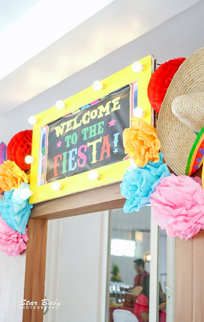 Fiesta Welcome Sign + Arch from a Mexican Fiesta Birthday Party on Kara's Party Ideas | KarasPartyIdeas.com (19)