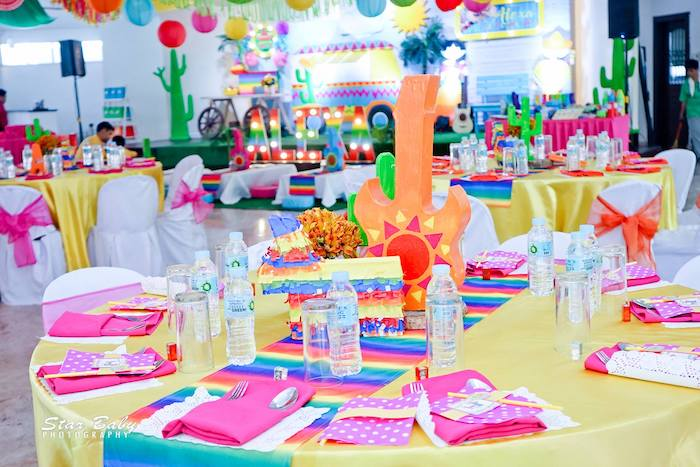Fiesta Themed Guest Table from a Mexican Fiesta Birthday Party on Kara's Party Ideas | KarasPartyIdeas.com (10)