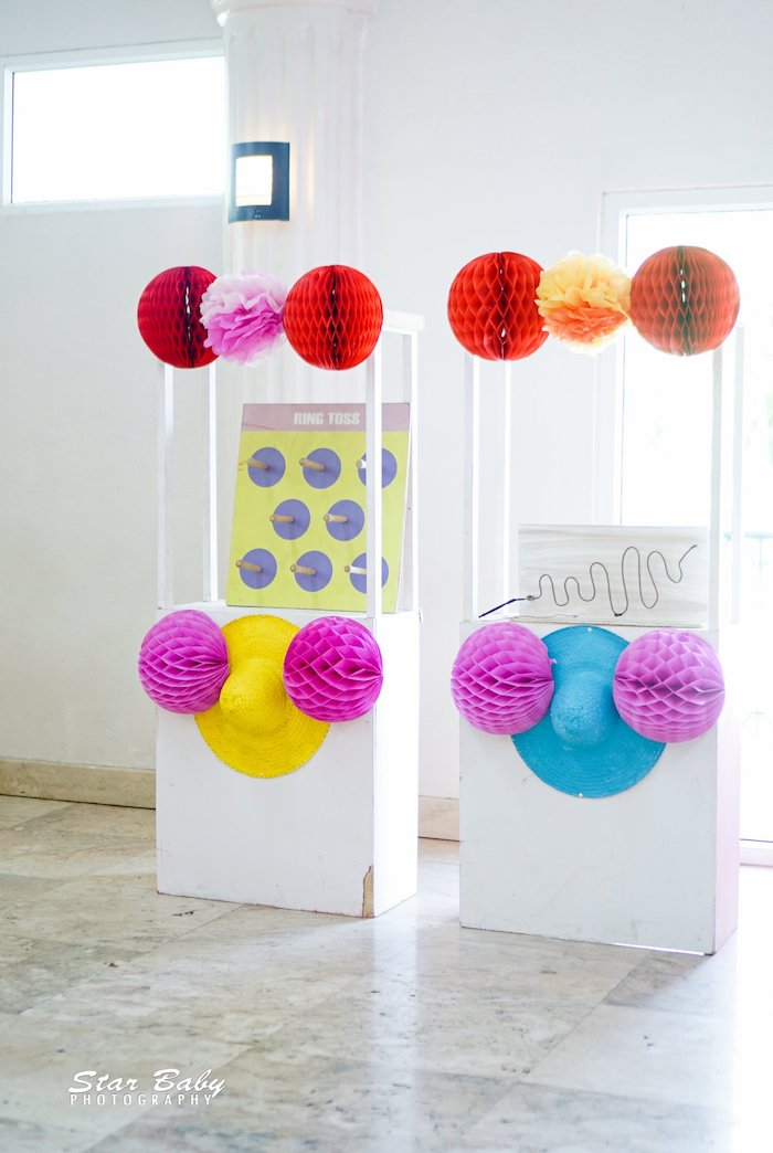 Game Booths adorned with Tissue Decorations & Sombreros from a Mexican Fiesta Birthday Party on Kara's Party Ideas | KarasPartyIdeas.com (8)