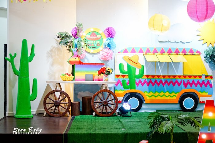 Fiesta Stage + Backdrop from a Mexican Fiesta Birthday Party on Kara's Party Ideas | KarasPartyIdeas.com (7)