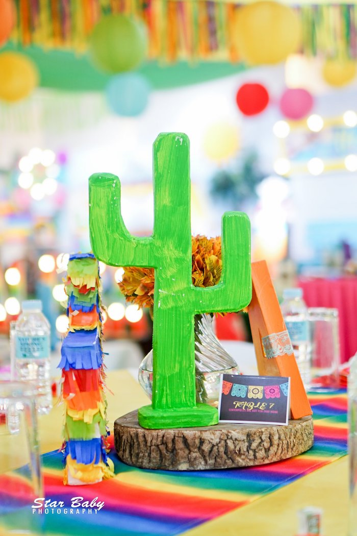 Cactus Table Centerpiece from a Mexican Fiesta Birthday Party on Kara's Party Ideas | KarasPartyIdeas.com (6)