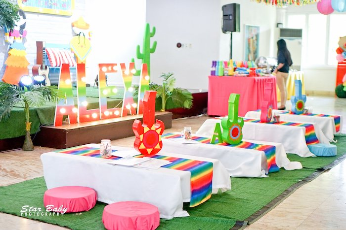 Fiesta Themed Kid Tables from a Mexican Fiesta Birthday Party on Kara's Party Ideas | KarasPartyIdeas.com (5)