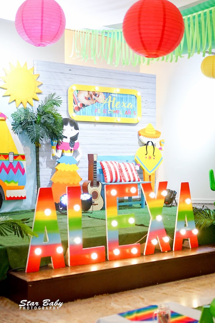 Colorful Name Marquee from a Mexican Fiesta Birthday Party on Kara's Party Ideas | KarasPartyIdeas.com (40)
