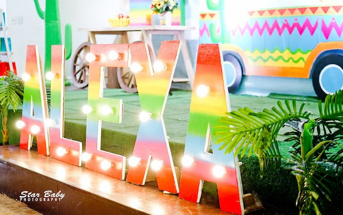 Custom and Colorful Name Marquee Light from a Mexican Fiesta Birthday Party on Kara's Party Ideas | KarasPartyIdeas.com (36)