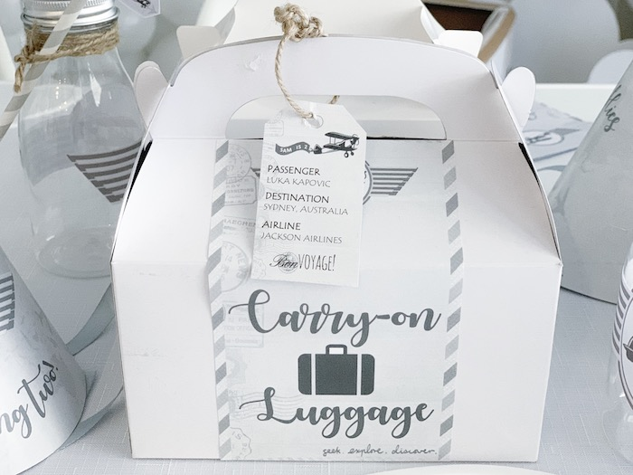Carry-on Luggage - Gable Lunch Box from a Minimal Scandinavian Inspired Aviation Birthday Party on Kara's Party Ideas | KarasPartyIdeas.com (25)