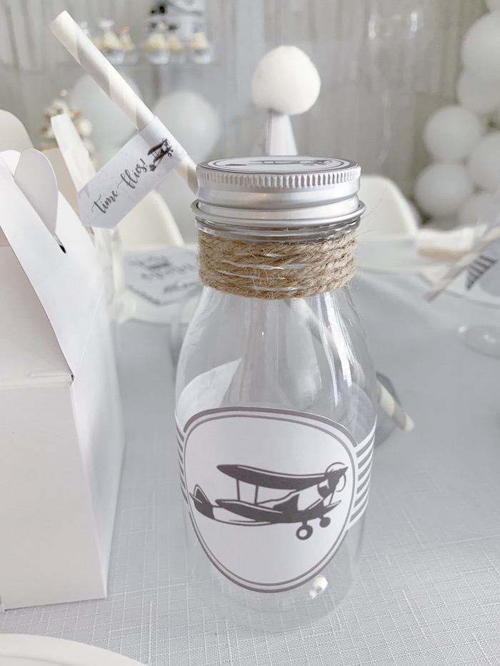 Airplane-labeled Milk Bottle from a Minimal Scandinavian Inspired Aviation Birthday Party on Kara's Party Ideas | KarasPartyIdeas.com (23)