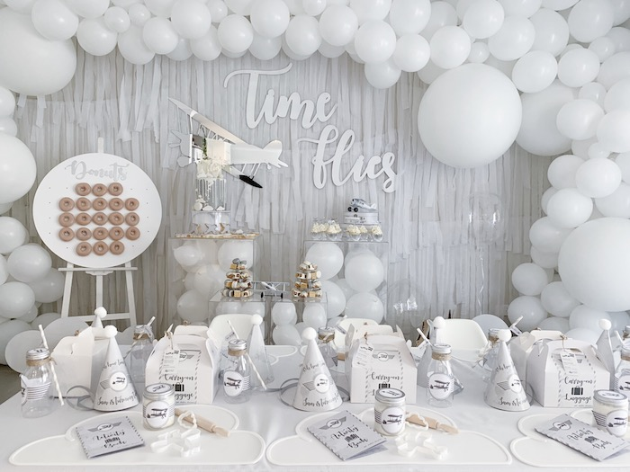 Time Flies Party Tables from a Minimal Scandinavian Inspired Aviation Birthday Party on Kara's Party Ideas | KarasPartyIdeas.com (21)