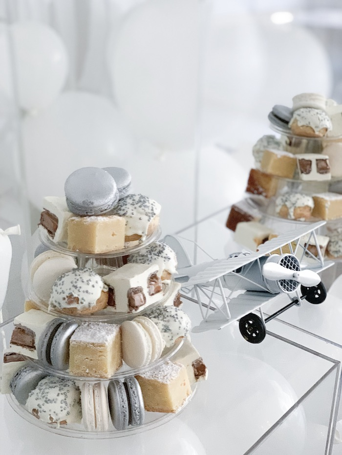 Dessert Towers from a Minimal Scandinavian Inspired Aviation Birthday Party on Kara's Party Ideas | KarasPartyIdeas.com (19)