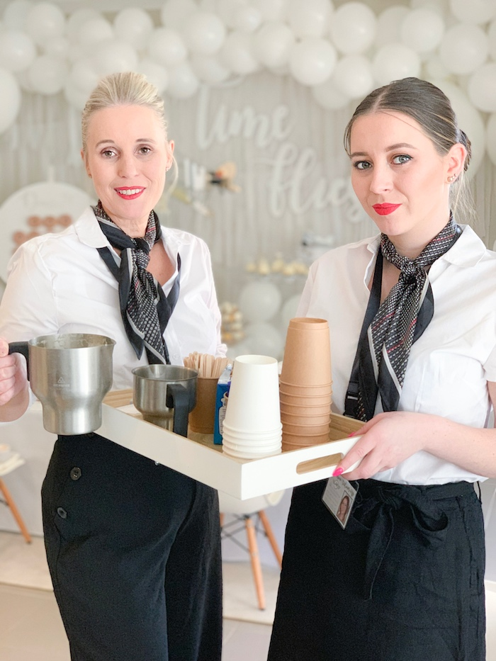 Flight Attendant Servers from a Minimal Scandinavian Inspired Aviation Birthday Party on Kara's Party Ideas | KarasPartyIdeas.com (8)