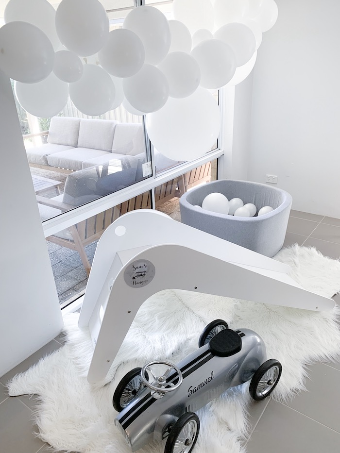 Slide & Car from a Minimal Scandinavian Inspired Aviation Birthday Party on Kara's Party Ideas | KarasPartyIdeas.com (34)
