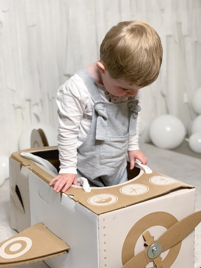 Box Airplane from a Minimal Scandinavian Inspired Aviation Birthday Party on Kara's Party Ideas | KarasPartyIdeas.com (6)