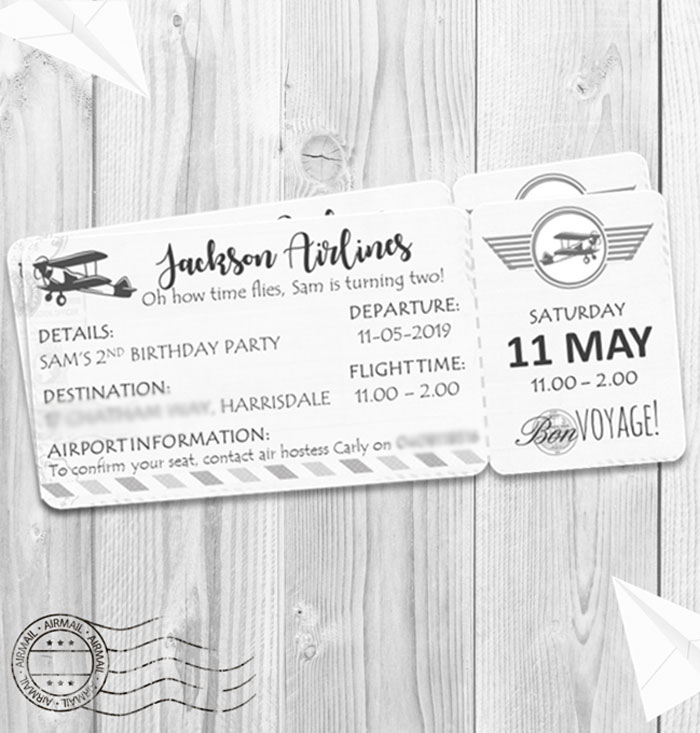 Boarding Pass Invitation from a Minimal Scandinavian Inspired Aviation Birthday Party on Kara's Party Ideas | KarasPartyIdeas.com (4)