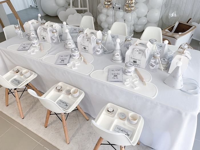 Guest Table from a Minimal Scandinavian Inspired Aviation Birthday Party on Kara's Party Ideas | KarasPartyIdeas.com (30)
