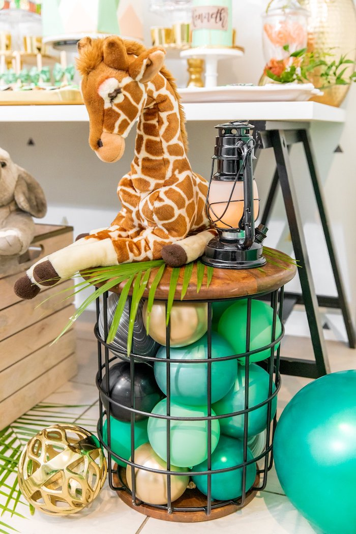 "Modern Jungle Themed Balloon Pedestal from a Modern ""Wild One"" 1st on Kara's Party Ideas 