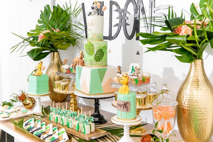 "Jungle Themed Dessert Table from a Modern ""Wild One"" 1st on Kara's Party Ideas 
