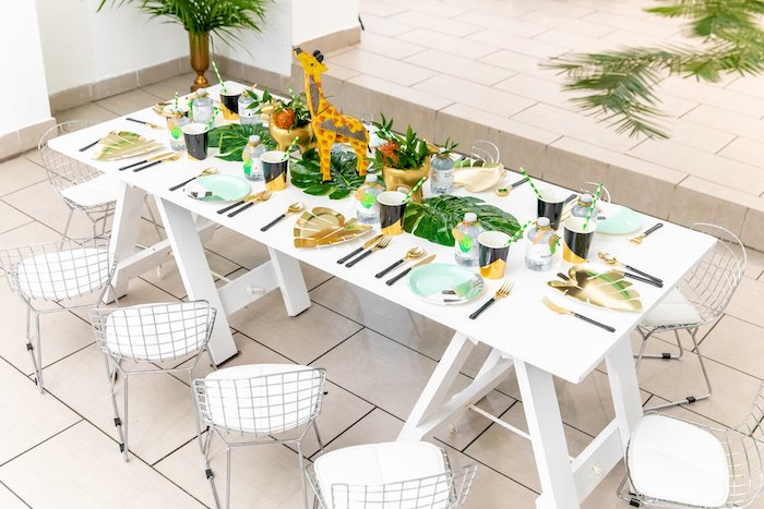 "Modern Jungle Themed Guest Table from a Modern ""Wild One"" 1st on Kara's Party Ideas 
