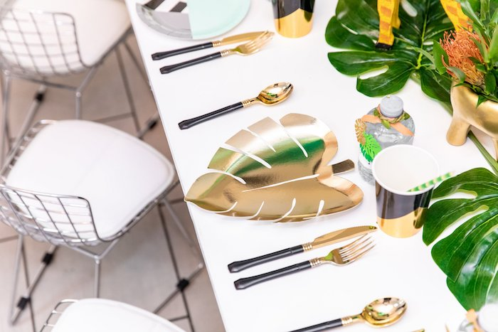 "Gold Leaf Plate Table Setting from a Modern ""Wild One"" 1st on Kara's Party Ideas 