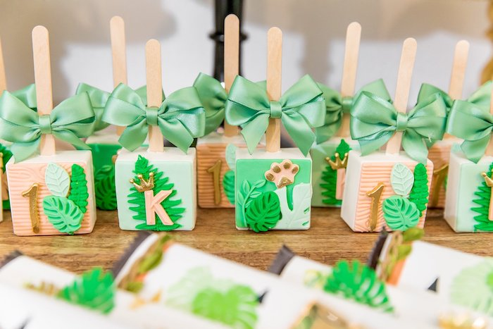 "Jungle Rice Krispie Treat Pops from a Modern ""Wild One"" 1st on Kara's Party Ideas 