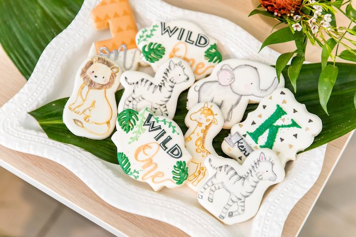 "Wild One Jungle Cookies from a Modern ""Wild One"" 1st on Kara's Party Ideas 