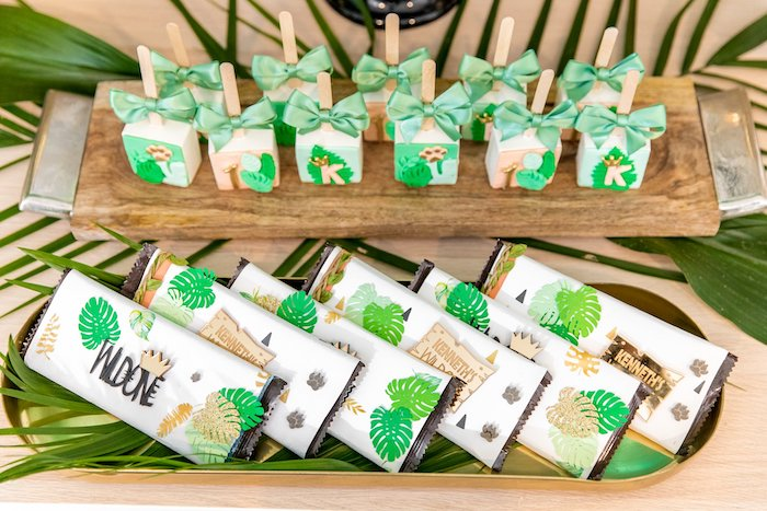 "Jungle Candy Bars + Labels from a Modern ""Wild One"" 1st on Kara's Party Ideas 
