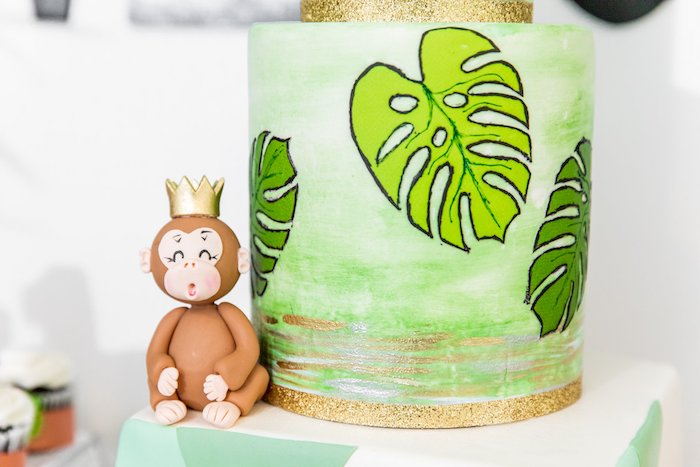 "Jungle Cake from a Modern ""Wild One"" 1st on Kara's Party Ideas 