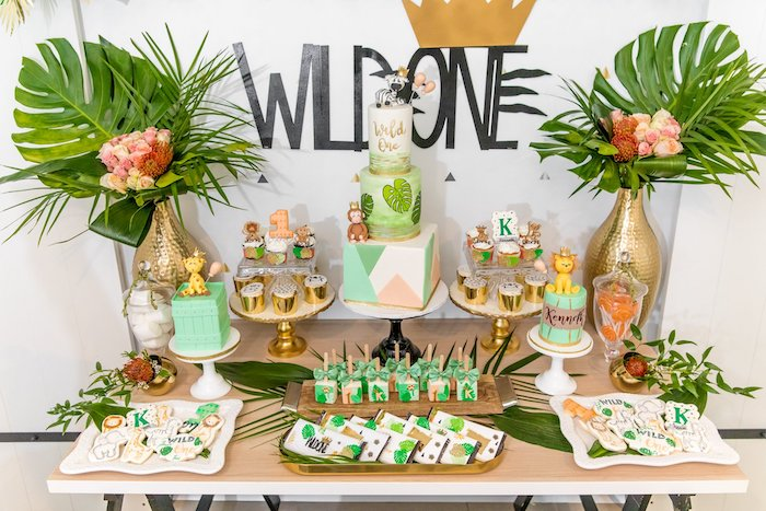 "Wild One Dessert Table from a Modern ""Wild One"" 1st on Kara's Party Ideas 