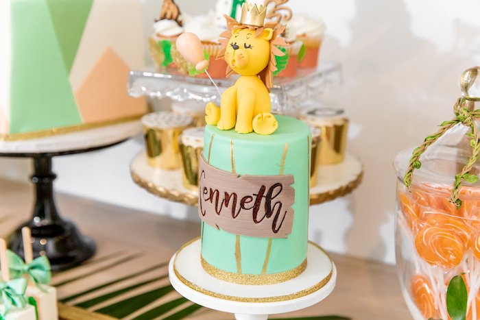 "Lion-topped Safari Cake from a Modern ""Wild One"" 1st on Kara's Party Ideas 