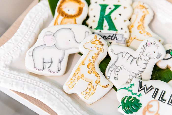 "Safari Animal Cookies from a Modern ""Wild One"" 1st on Kara's Party Ideas 