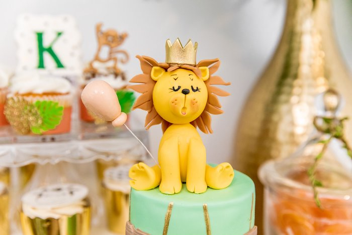 "Lion Cake Topper from a Modern ""Wild One"" 1st on Kara's Party Ideas 