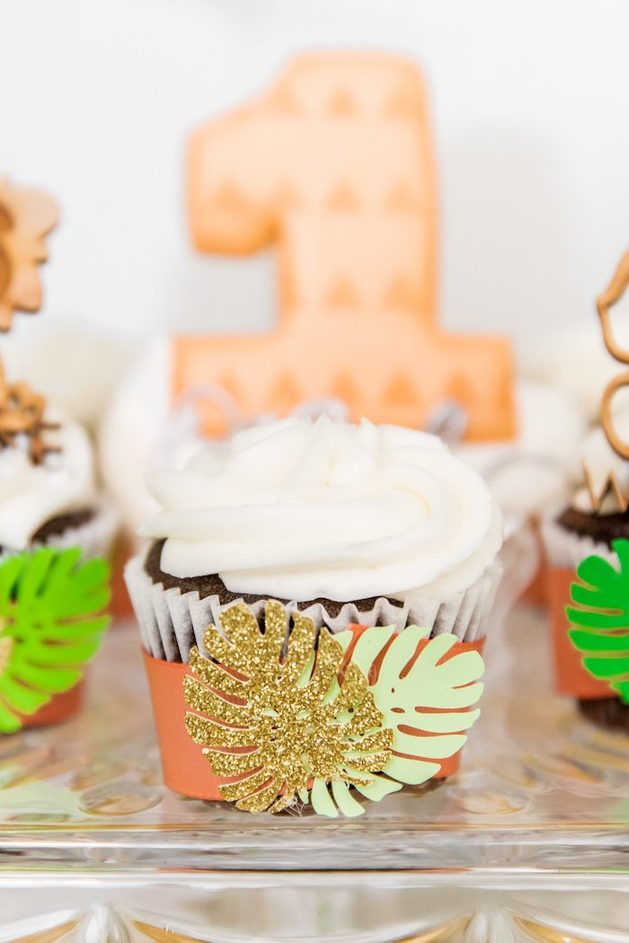 "Jungle Cupcake from a Modern ""Wild One"" 1st on Kara's Party Ideas 