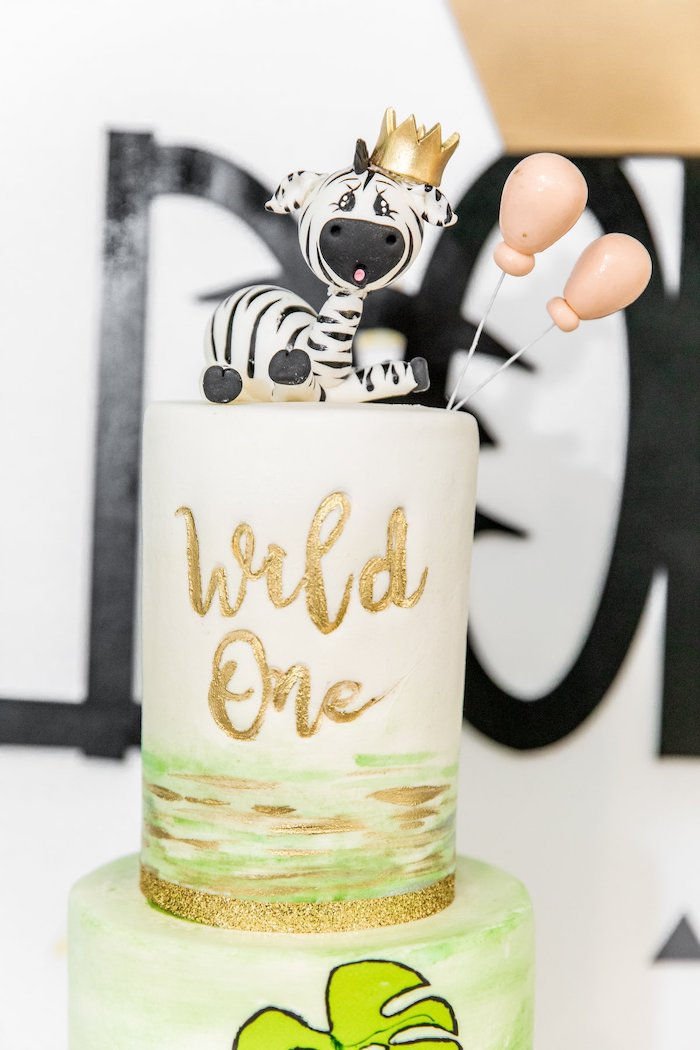 "Wild One Jungle Cake from a Modern ""Wild One"" 1st on Kara's Party Ideas 