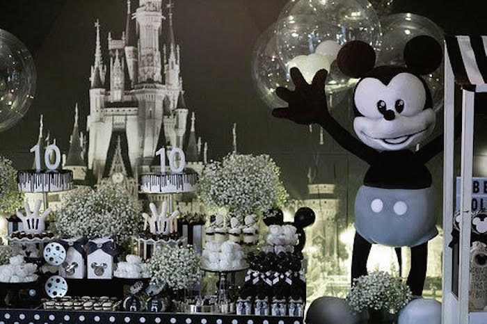 Mono Mickey & Minnie Dessert Table from a Monochromatic Mickey & Minnie Mouse Birthday Party on Kara's Party Ideas | KarasPartyIdeas.com (9)