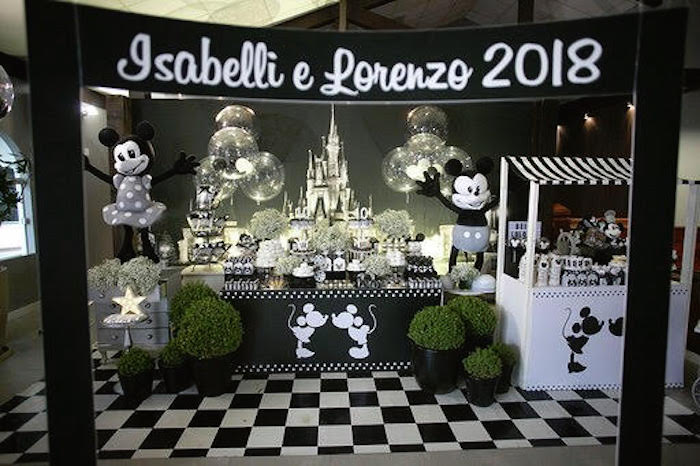 Monochromatic Mickey & Minnie Mouse Birthday Party on Kara's Party Ideas | KarasPartyIdeas.com (8)