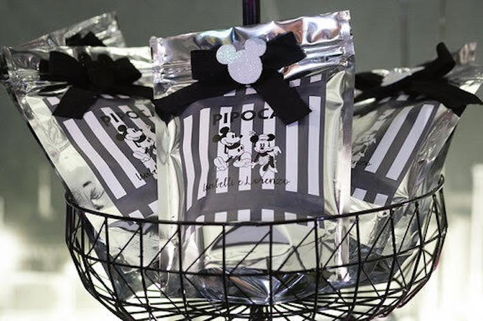 Monochromatic Mickey & Minnie Favor Pouches from a Monochromatic Mickey & Minnie Mouse Birthday Party on Kara's Party Ideas | KarasPartyIdeas.com (7)