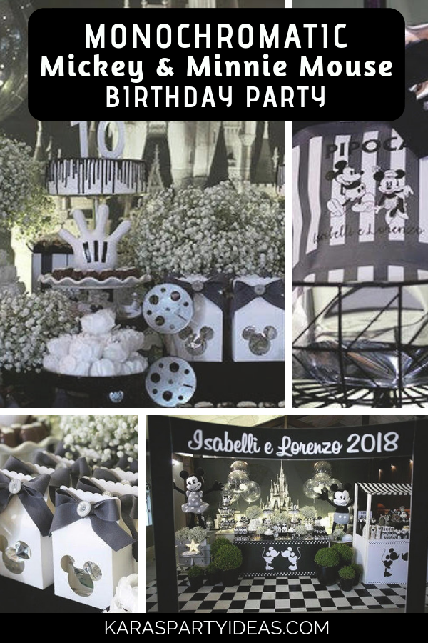 Monochromatic Mickey & Minnie Mouse Birthday Party via Kara's Party Ideas - KarasPartyIdeas.com