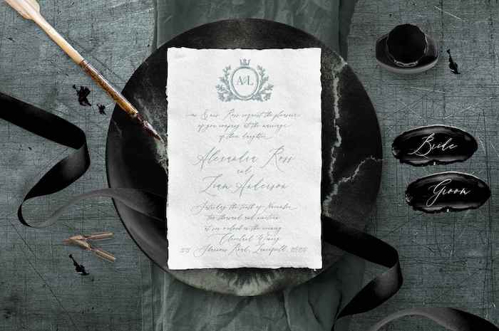 Monogram + Deckle Edges Invitation from a 2019 Wedding Trends from Celebrity Experts via Kara's Party Ideas | KarasPartyIdeas.com