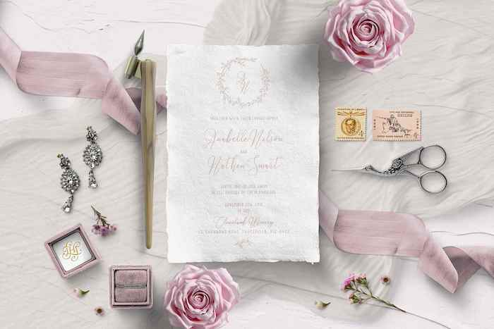Monogram + Wreath Invitation from a 2019 Wedding Trends from Celebrity Experts via Kara's Party Ideas | KarasPartyIdeas.com