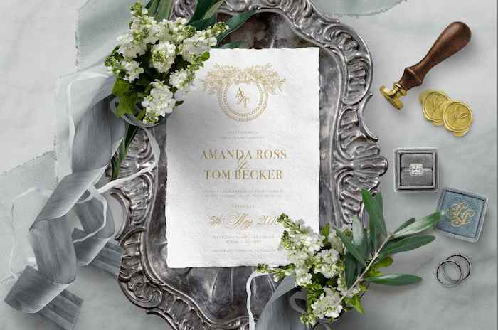 Monogram Invitation from a 2019 Wedding Trends from Celebrity Experts via Kara's Party Ideas | KarasPartyIdeas.com