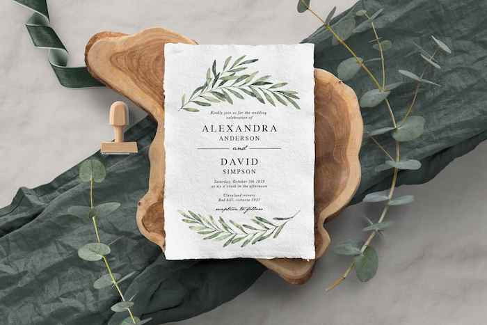 Nature Inspired + Deckle Edges Invitation from a 2019 Wedding Trends from Celebrity Experts via Kara's Party Ideas | KarasPartyIdeas.com