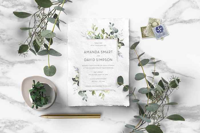 Nature Inspired Watercolour Invitation from a 2019 Wedding Trends from Celebrity Experts via Kara's Party Ideas | KarasPartyIdeas.com