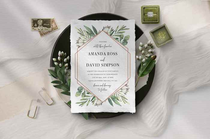 Nature inspired Invitation from a 2019 Wedding Trends from Celebrity Experts via Kara's Party Ideas | KarasPartyIdeas.com