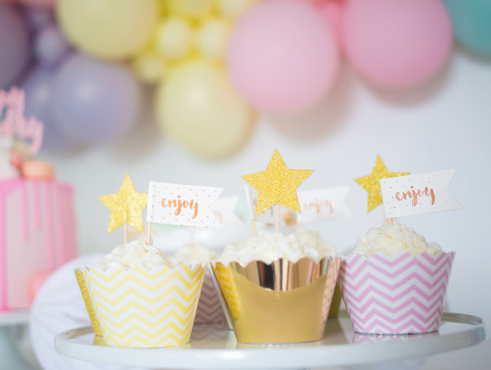 Star Cupcakes from a Pastel Sorbet Inspired Balloon Birthday Party on Kara's Party Ideas | KarasPartyIdeas.com (13)