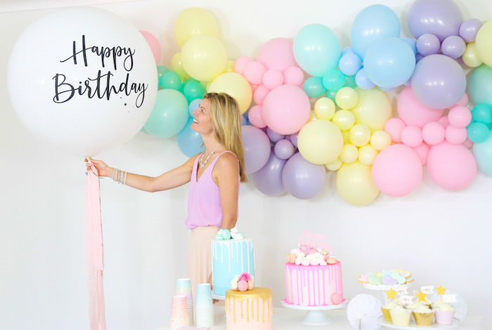 Happy Birthday Jumbo Balloon from a Pastel Sorbet Inspired Balloon Birthday Party on Kara's Party Ideas | KarasPartyIdeas.com (23)
