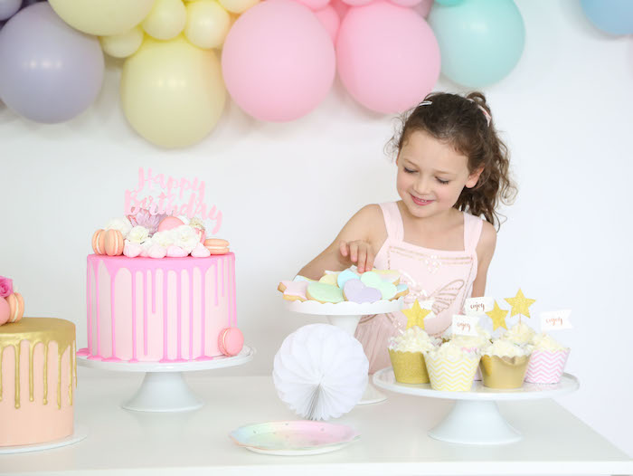Pastel Sweet Table from a Pastel Sorbet Inspired Balloon Birthday Party on Kara's Party Ideas | KarasPartyIdeas.com (22)