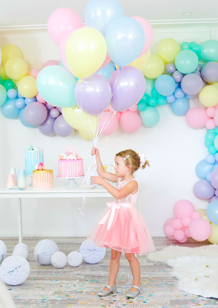 Pastel Balloon Bunch + Dessert Table from a Pastel Sorbet Inspired Balloon Birthday Party on Kara's Party Ideas | KarasPartyIdeas.com (21)