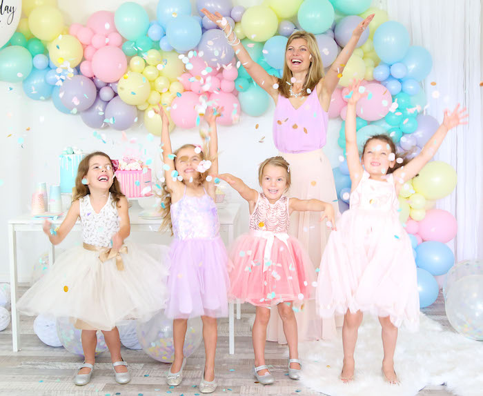 Confetti from a Pastel Sorbet Inspired Balloon Birthday Party on Kara's Party Ideas | KarasPartyIdeas.com (20)