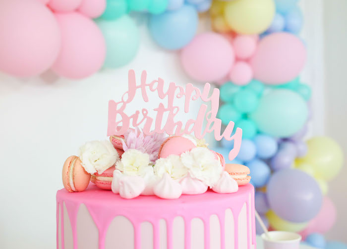 Pink Drip Cake from a Pastel Sorbet Inspired Balloon Birthday Party on Kara's Party Ideas | KarasPartyIdeas.com (19)